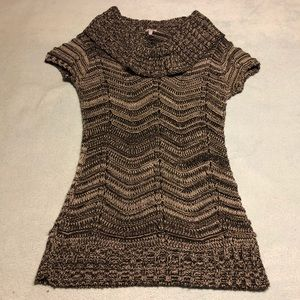 Knit Cowl Neck Short Sleeve Sweater
